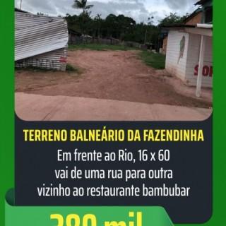 Ótimo terreno no Balneario da Fazendinha, frente para o Rio